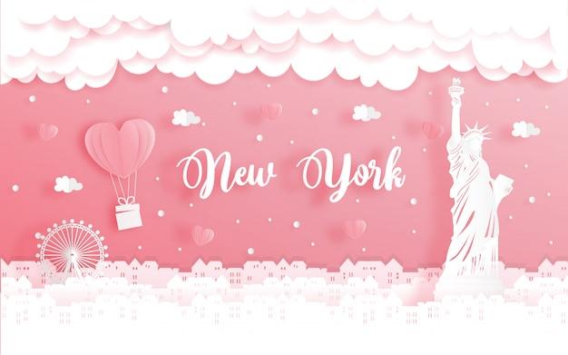 Viaje de luna de miel y concepto del día de san valentín con viaje a la ciudad de nueva york, estados unidos.