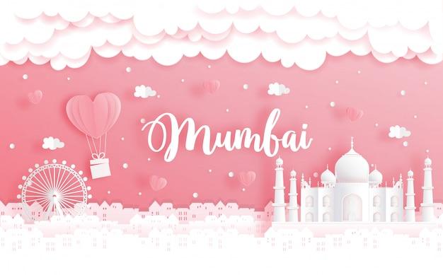Viaje de luna de miel y concepto de día de san valentín con viaje a mumbai, india