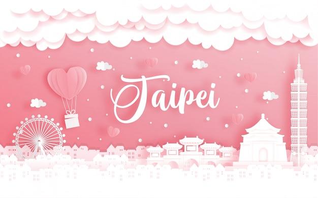 Viaje de luna de miel y tarjeta del día de san valentín con concepto de viaje a taipei