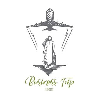 Viaje de negocios, ilustración de empresario