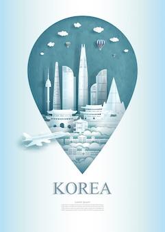Viaje el pin del monumento de la arquitectura de corea del sur en asia con antiguo.