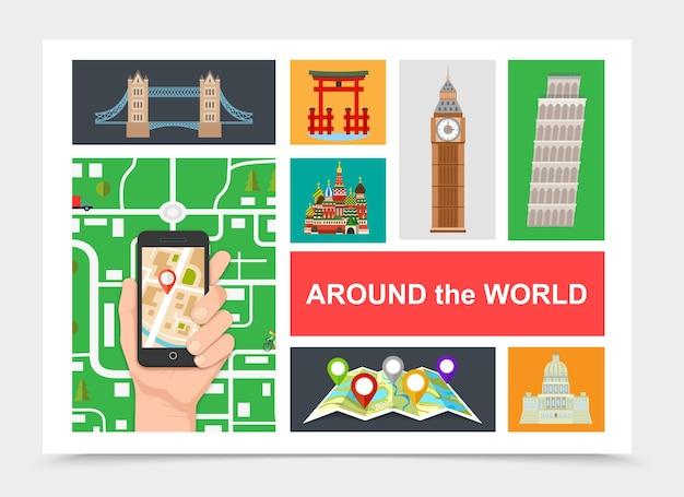 Viaje plano alrededor de la composición mundial.