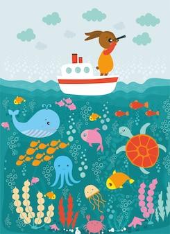 Viaje por mar con conejo