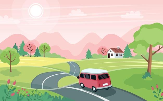 Viaje de primavera por carretera