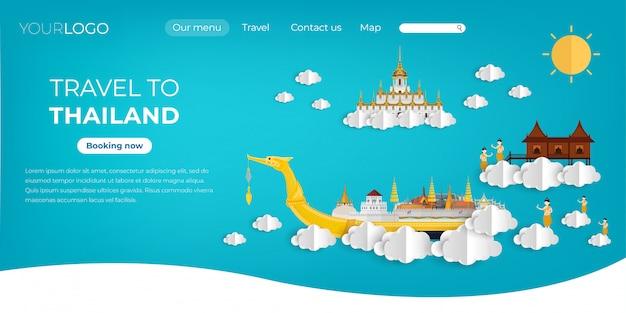 Viaje a tailandia en el diseño de la página de aterrizaje del cielo