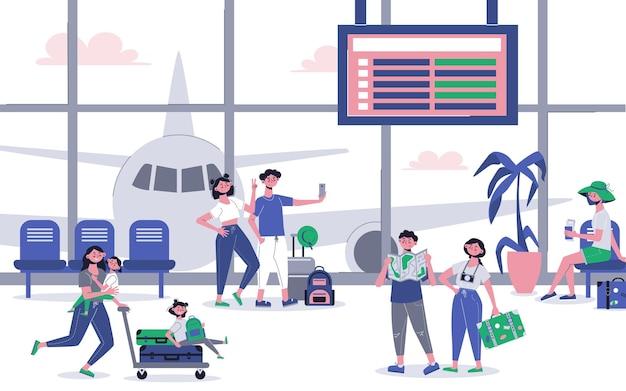 Viaje de vacaciones con el interior del pasillo del aeropuerto, pasajeros, llegada, salida, avión, detrás de una pared de vidrio
