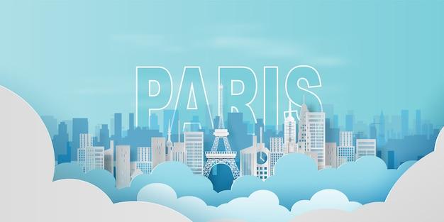 Viaje de vacaciones en la torre eiffel de la ciudad de parís
