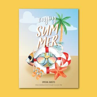 Viaje en vacaciones de verano a la playa palmera cartel de vacaciones, mar y cielo luz solar