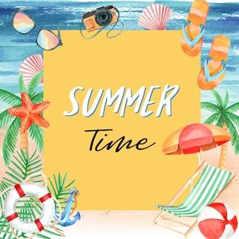 Viaje de vacaciones, verano, playa, palmeras, mar, cielo, luz solar.