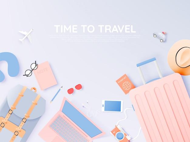 Viaje varios artículos en estilo de arte de papel con ilustración de vector de fondo de esquema de color pastel