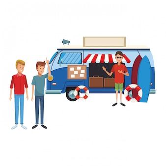 Viaje de la vendimia de dibujos animados van
