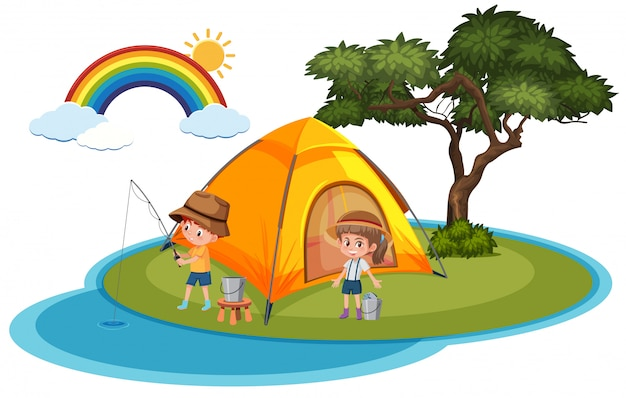 Viaje de verano de camping en el tema de la playa de la isla sobre fondo blanco