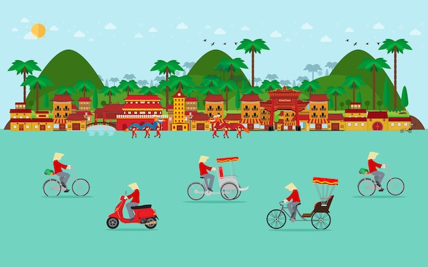 Viaje a vietnam, transporte en vietnam. bicicleta, triciclo, scooter. diseño plano
