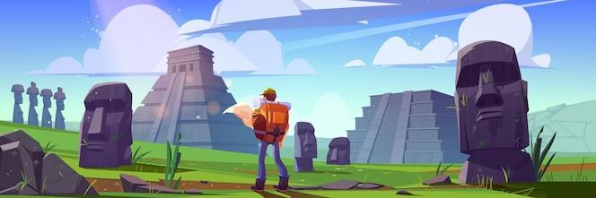 Viajero en antiguas pirámides mayas o estatuas moai