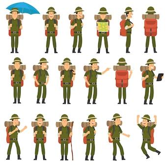 El viajero en diferentes poses conjunto.
