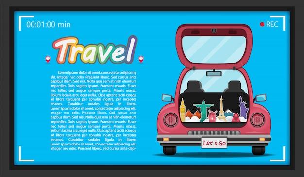 Viajero feliz en coche de maletero rojo con check-in punto de viaje alrededor del mundo.