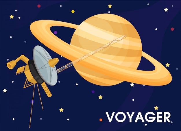 Viajero. la nave espacial fue enviada para explorar los anillos de saturno.
