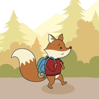 Viajero de nieve y zorro lindo en el bosque.