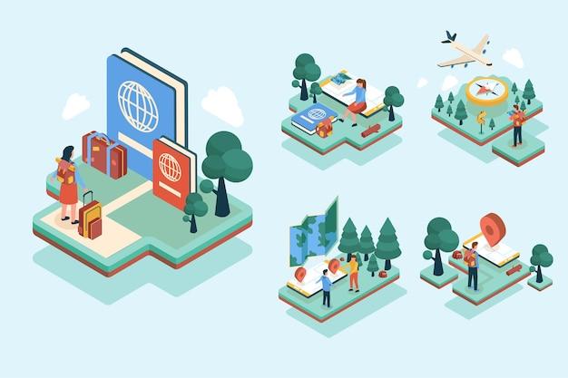 Viajero de patrón isométrico planeando viajar con airplan en personaje de dibujos animados, ilustración plana vector gratuito