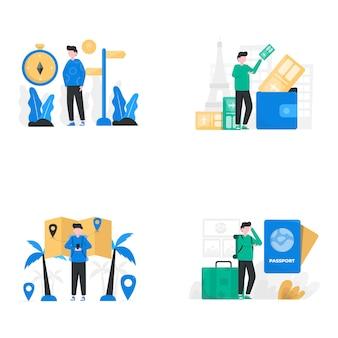 Un viajero está preparando equipaje, pasaportes y cámaras para una ilustración de vacaciones,