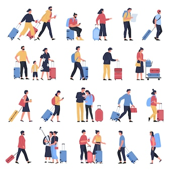 Viajeros en el aeropuerto. turistas de negocios, personas esperando en la terminal del aeropuerto con equipaje, personajes caminando y corriendo hacia el conjunto de ilustración de embarque