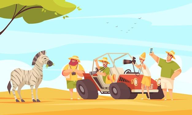 Viajeros de áfrica safari tour tomando fotos de cebra con cámara y teléfono inteligente
