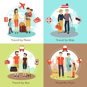 Viajeros con equipaje, concepto 4 iconos planos cuadrados con cartel de tren de barco de autobús
