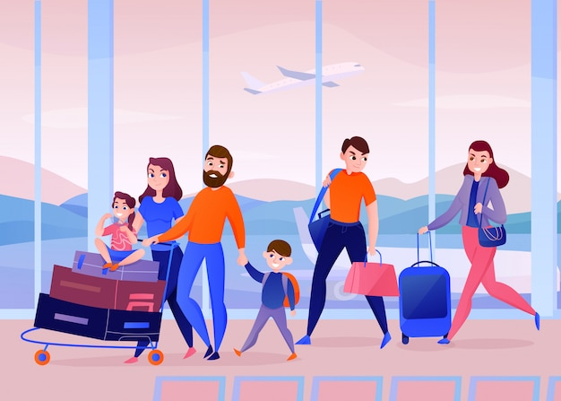 Viajeros con equipaje dentro del puerto de aire en la ventana con avión volando