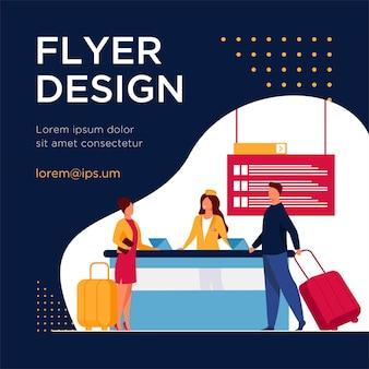 Viajeros felices pasando por el mostrador de registro de vuelos. viaje, equipaje, equipaje plano flyer template