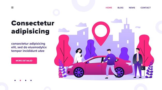 Viajeros que comparten coche en la ciudad. personas buscando vehículo con puntero de ubicación. ilustración para alquiler de transporte, transferencia, automóvil, concepto de viaje