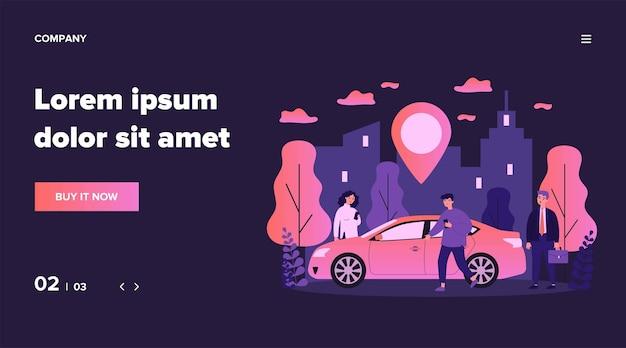 Viajeros que comparten coche en la ciudad. personas que buscan vehículo con puntero de ubicación. ilustración para alquiler de transporte, transferencia, automóvil, concepto de viaje.