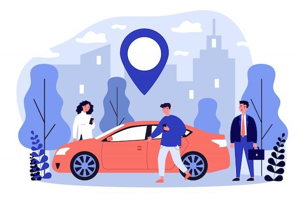 Viajeros que comparten coche en la ciudad
