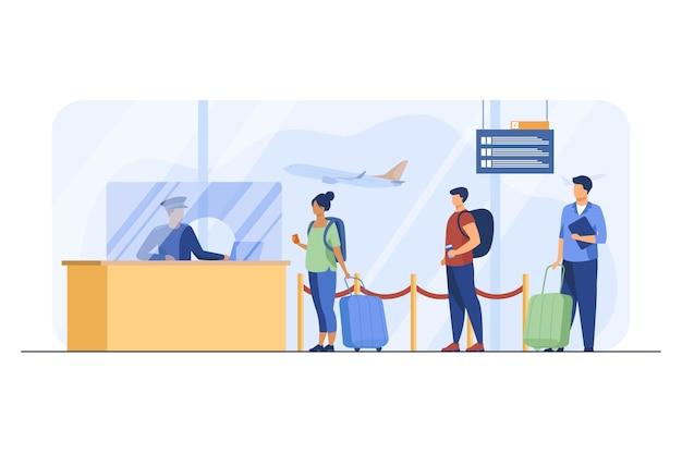 Viajeros que hacen cola para el registro de vuelos. equipaje, línea, billete plano ilustración vectorial. aerolíneas y viajes