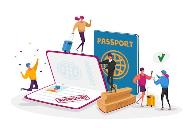 Viajeros y turistas que realizan documentos para salir del país y viajar al extranjero