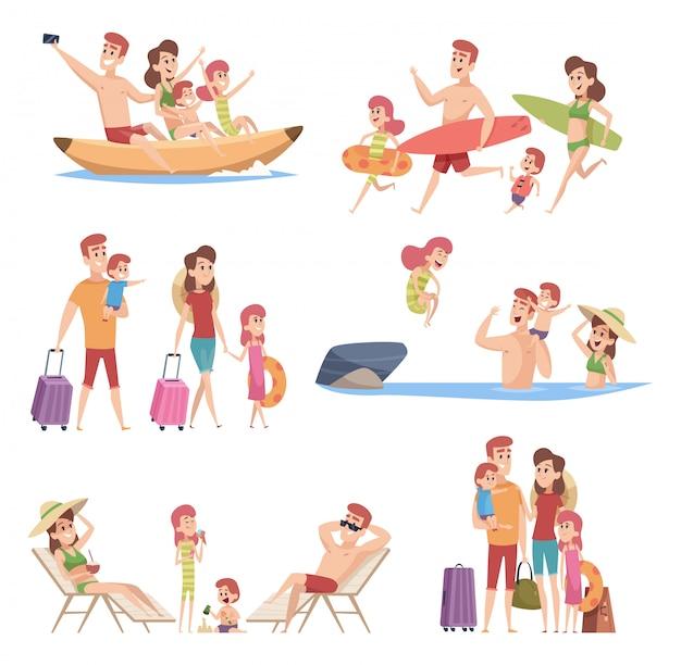 Viajeros de verano. amor feliz pareja con playa para niños caminando vacaciones viaje aventura al aire libre vector colección de personajes