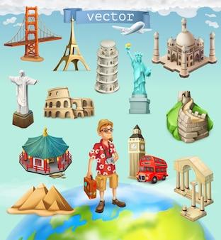 Viajes, atracción turística. conjunto de iconos en el fondo
