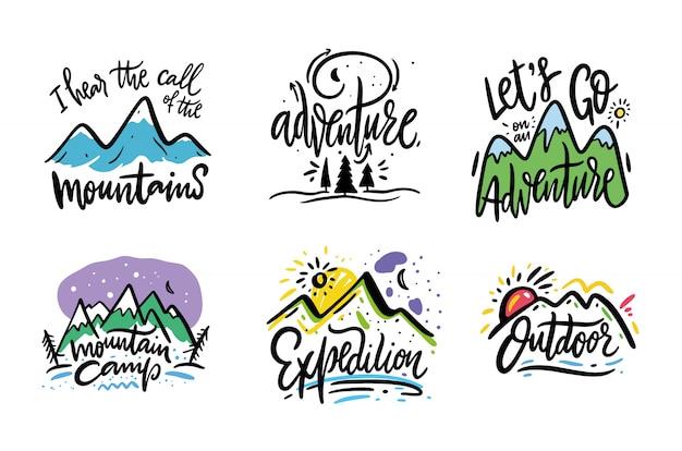 Viajes y aventura frase dibujado a mano vector letras. de tinta negro. aislado en blanco estilo de dibujos animados