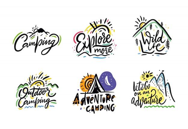 Viajes y aventura frase dibujado a mano vector letras. de tinta negro. aislado en blanco