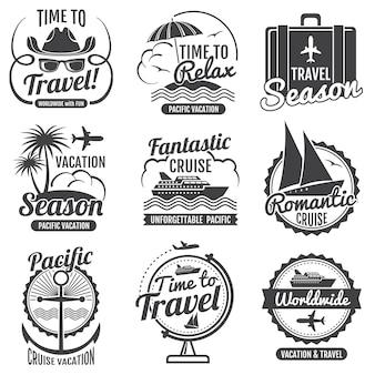 Viajes aventura vector vintage etiquetas y emblemas.