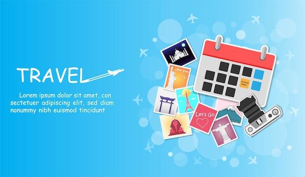 Viajes de calendario e imagen alrededor del mundo.