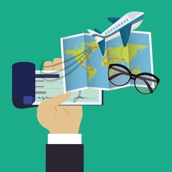 Viajes chequera mapa gafas fondo verde