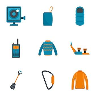 Viajes conjunto de iconos de senderismo, estilo plano