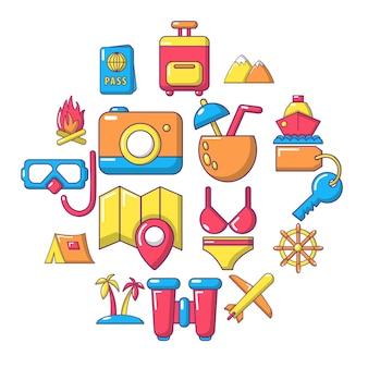 Viajes conjunto de iconos de verano, estilo de dibujos animados