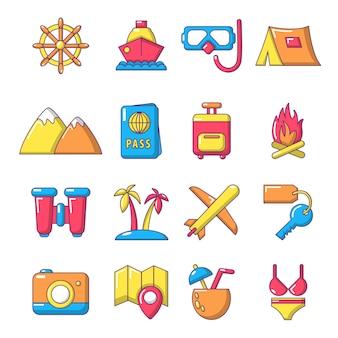 Viajes conjunto de iconos de verano