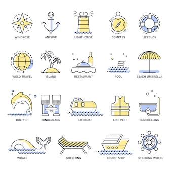 Viajes de crucero o iconos de líneas de vacaciones de verano.