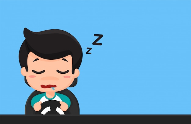 Viajes de dibujos animados de personas borrachas, con sueño, usan el teléfono mientras conduces