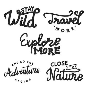 Viajes y explorar insignia aislada en blanco