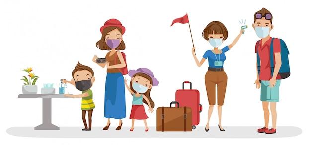 Viajes familiares los guías turísticos controlan la fiebre. el niño se lavaba las manos con un gel de alcohol. nuevo concepto normal