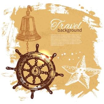Viajes fondo vintage. diseño náutico del mar. ilustración dibujada a mano