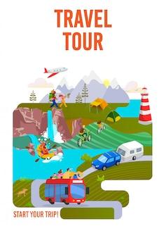 Viajes, gira, viaje al mundo, viajes y vacaciones en cartel de vacaciones, ilustración. senderismo y viaje por carretera. turismo.